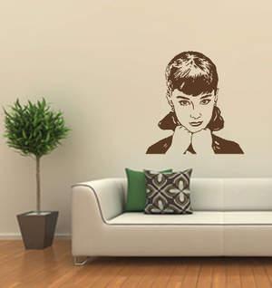 audrey hepburn2 wandtattoo wandtattoo menschen. Black Bedroom Furniture Sets. Home Design Ideas