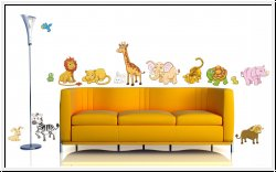 Bunter Zoo Wandsticker