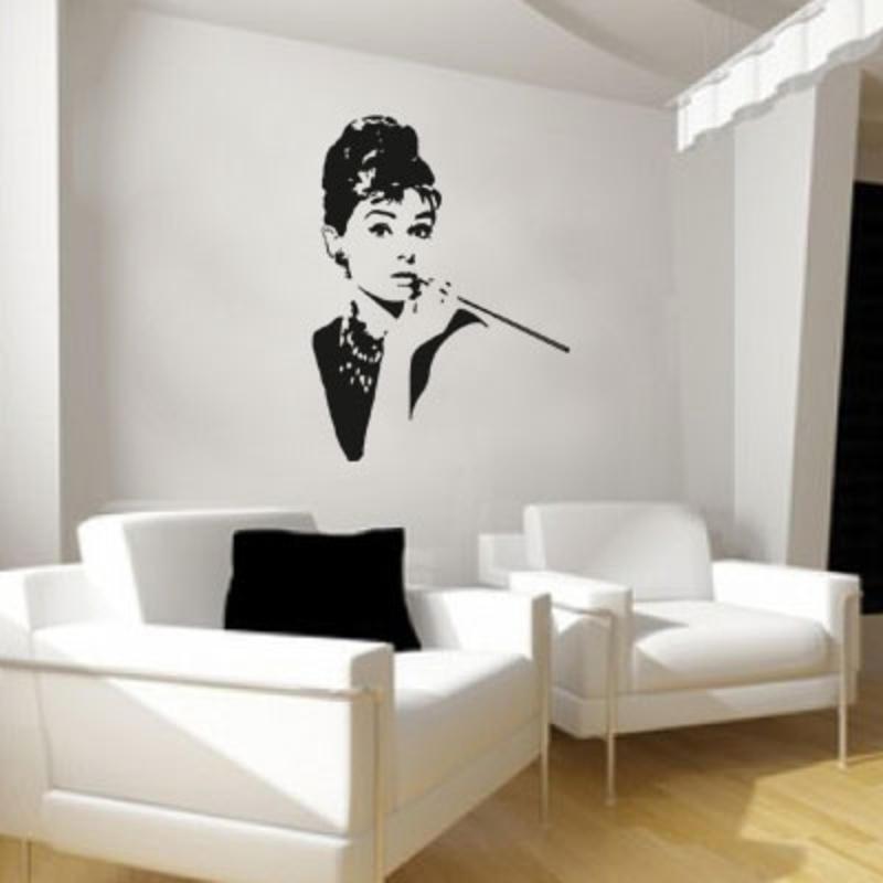 audrey hepburn wandaufkleber wandtattoo menschen. Black Bedroom Furniture Sets. Home Design Ideas
