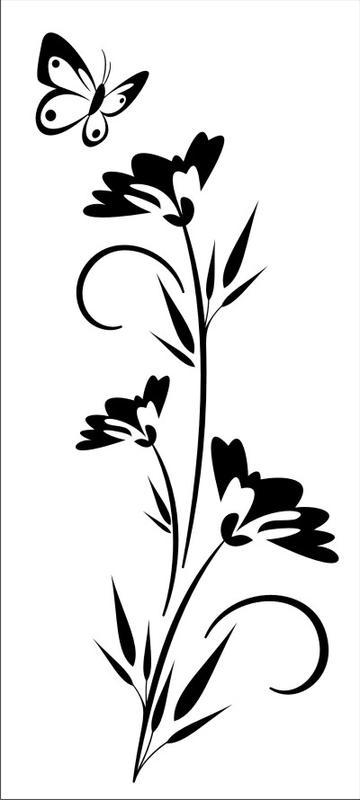japansiche blume ayaka mit schmetterling wanddeko. Black Bedroom Furniture Sets. Home Design Ideas