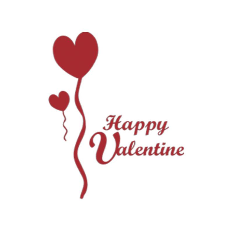 Happy Valentine + Luftballons Wandaufkleber Bild 1 Happy Valentine +  Luftballons Wandaufkleber Bild 2