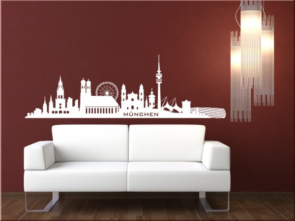 stadtsilhouette m nchen wandaufkleber wandtattoo skyline. Black Bedroom Furniture Sets. Home Design Ideas