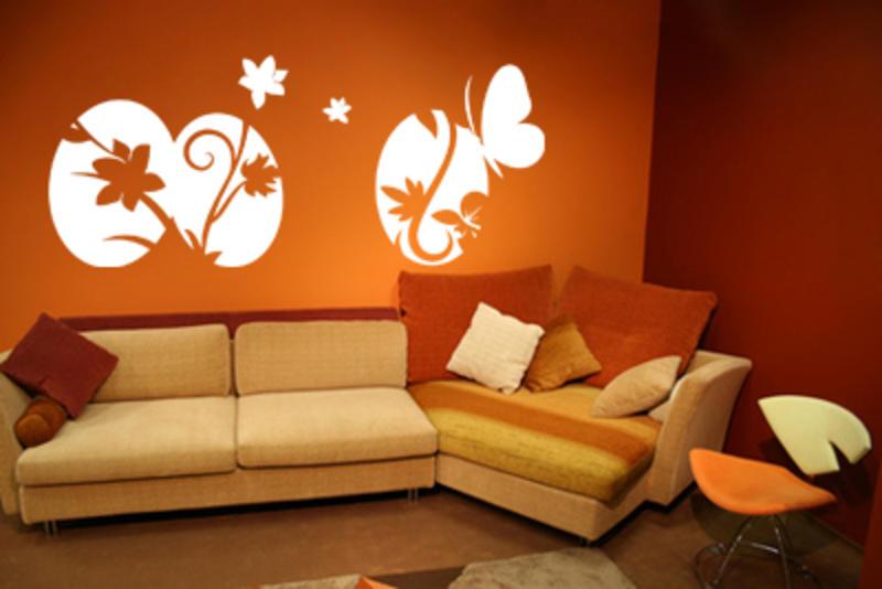 innenarchitektur : kleines tolles wandgestaltung wohnzimmer orange ...