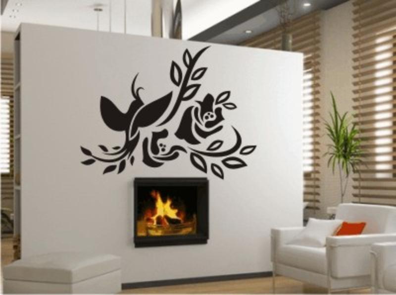 ranke mit vogel wandtattoo blumen wandtattoos blumen. Black Bedroom Furniture Sets. Home Design Ideas