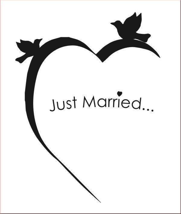 just married mit Herz Wanddekoration - Wandtattoo & Wandtattoos ...
