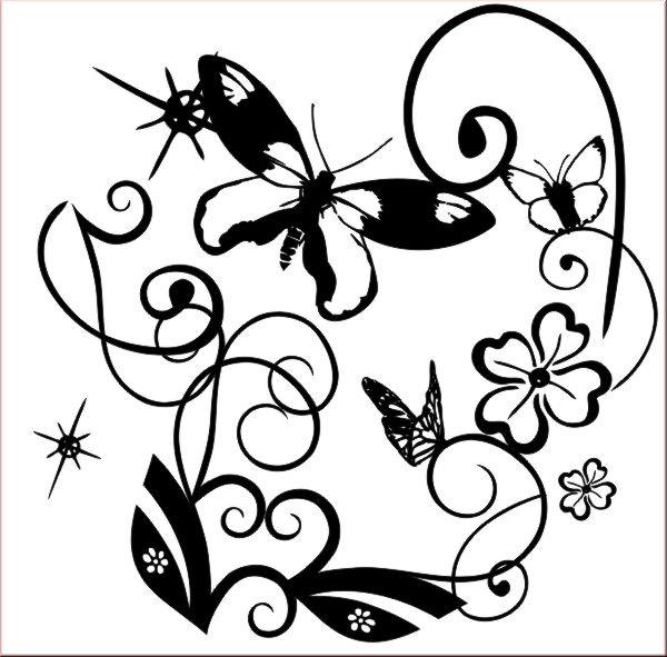 Schmetterlinge und blumen wandtattoo bild 2