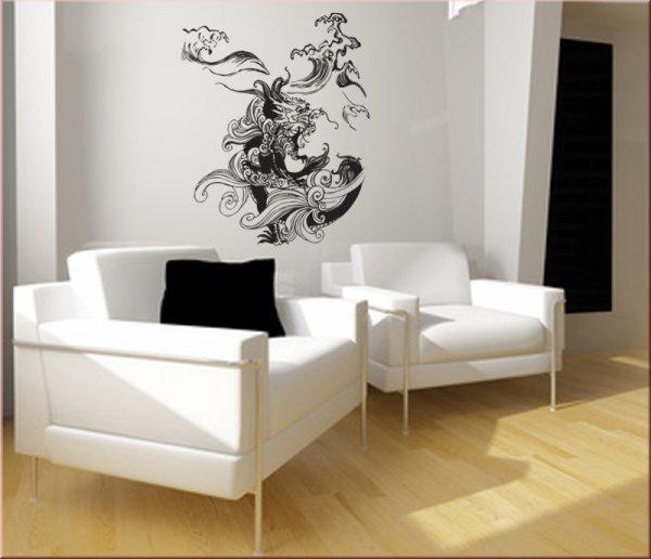 wandtattoo japanischer drachen im wind. Black Bedroom Furniture Sets. Home Design Ideas
